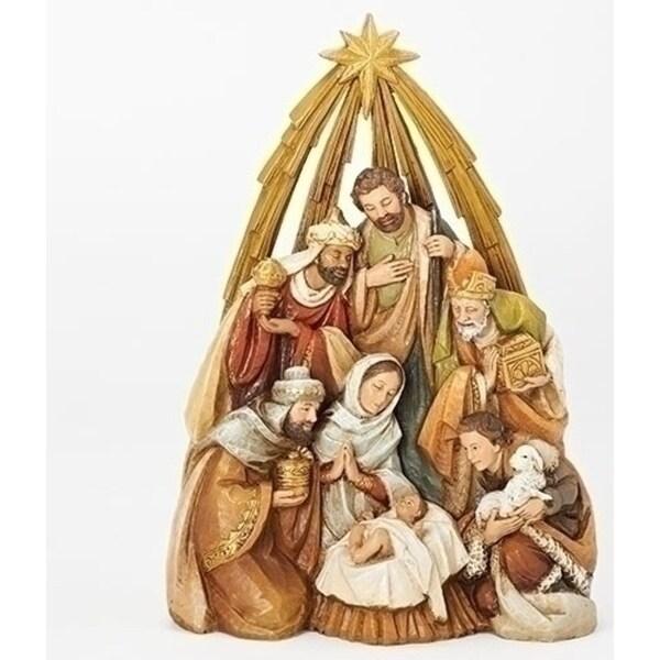 """10.5"""" Gold Nativity Under Star Arch Figure"""