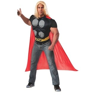 Thor Muscle Chest Shirt and Cape Costume Adult Standard - Black