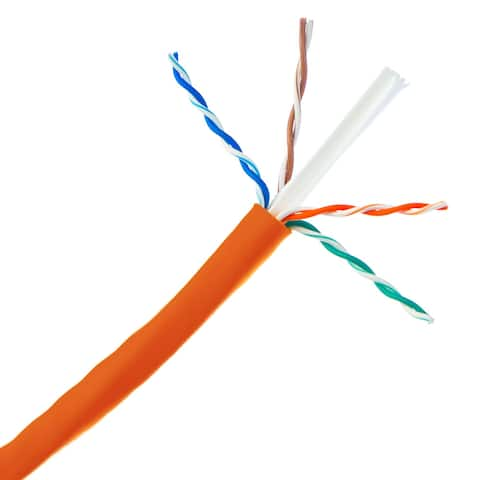 Offex Bulk Cat6 Orange Ethernet Cable, Solid, UTP (Unshielded Twisted Pair), Pullbox, 1000 foot
