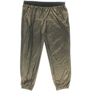 NY Collection Womens Metallic Pull On Jogger Pants