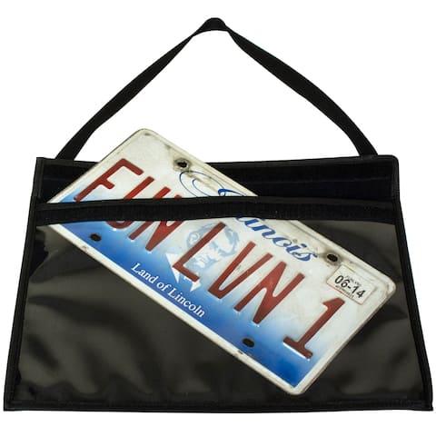 License Plate Holder W/ Hanging Strap 1/Pkg-Clear/Black