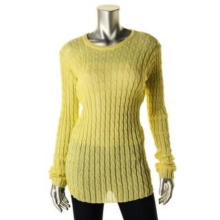Zara Knit Womens Sheer Crew Neck Pullover Sweater - L