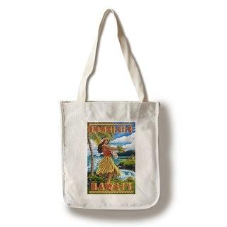 Honolulu, Hawaii - Hula Girl on Coast - LP Artwork (100% Canvas Tote Bag Gusset)