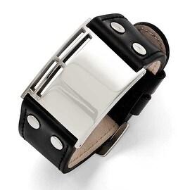 Chisel Stainless Steel Polished Black Leather Buckle Bracelet