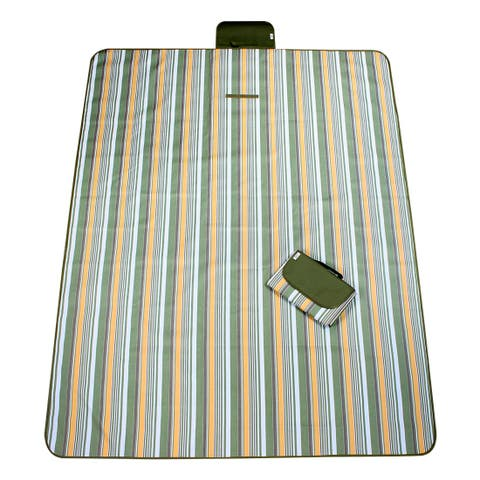 Outdoor Camping Nylon Stripe Pattern Picnic Mat Pad Army Green 145 x 200cm