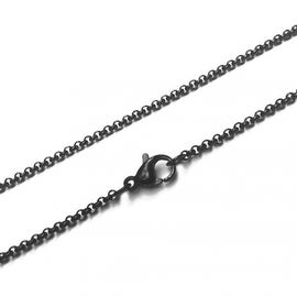 Loralyn Designs Black Stainless Steel Rolo Link Necklace Chain (2mm)