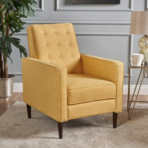 Mervynn Mid-Century Modern Button Tufted Fabric Recliner by Christopher Knight Home