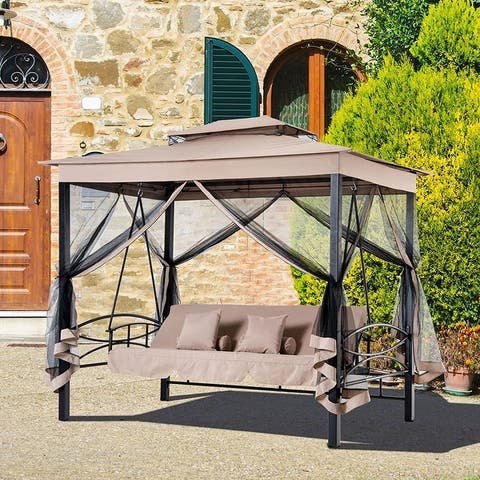 Outsunny 3-person Outdoor Daybed Gazebo Swing Chair