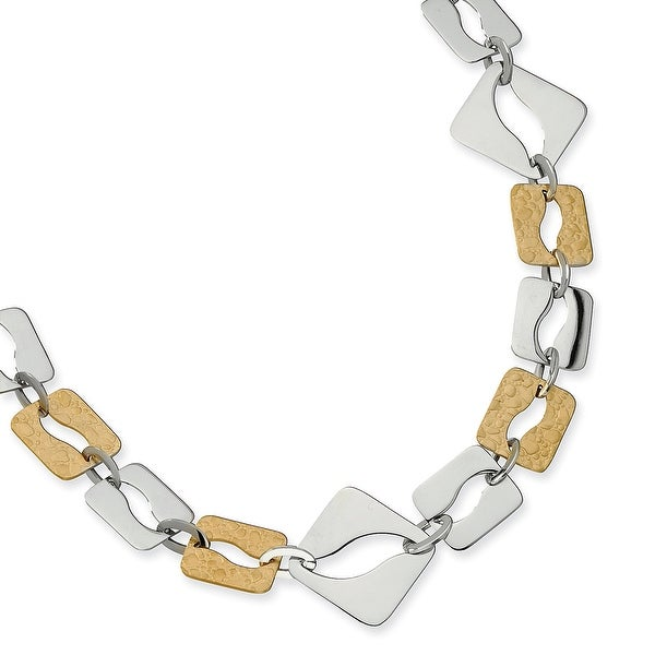Chisel Stainless Steel Gold IP Plated Sqare Link Necklace (30 mm) - 22 in