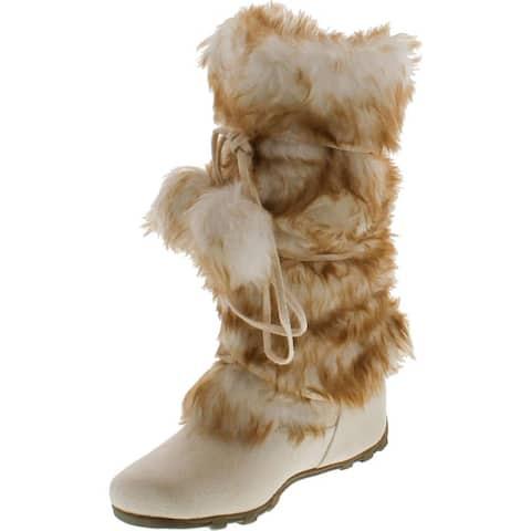 Blossom Womens Tara-Hi Pom Pom Winter Fashion Boots - Ice