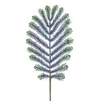 "30"" Mica Glitter Peacock Feather Christmas Spray - BLue"