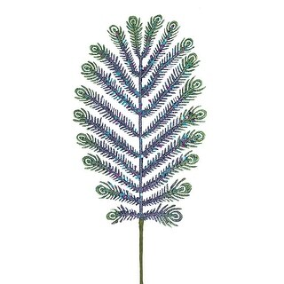 "30"" Mica Glitter Peacock Feather Christmas Spray"