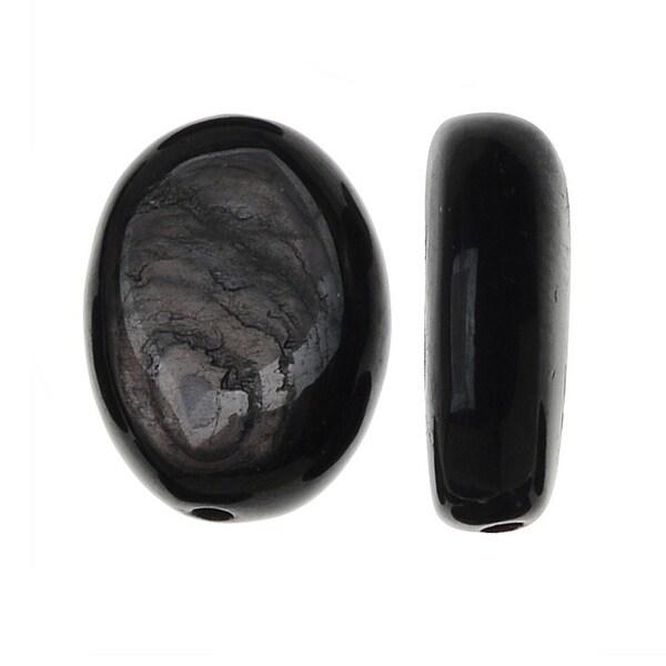Natural Hypersthene Gemstone, 10x14mm Smooth Puff Ovals, 10 Pieces, Grey