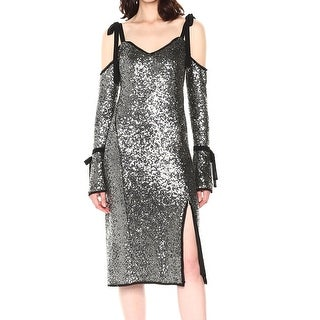 Rachel Roy Silver Womens Size 0 Sequin Cold-Shoulder Sheath Dress