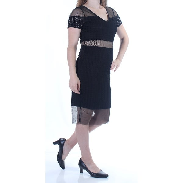 4be2884fa Shop GUESS Womens Black Eyelet Short Sleeve V Neck Knee Length Pencil Dress  Size  M - On Sale - Free Shipping On Orders Over  45 - Overstock - 22645696