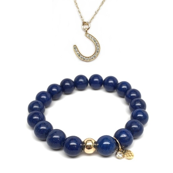 "Blue Jade 7"" Bracelet & CZ Horseshoe Gold Charm Necklace Set"