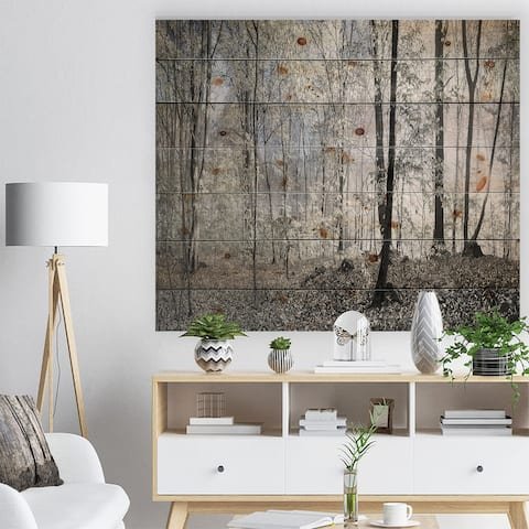 Designart 'Dark Morning in Forest Panorama' Landscape Print on Natural Pine Wood - Multi-color