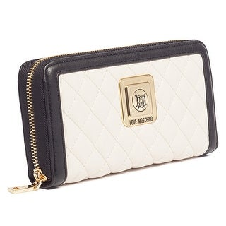 Moschino JC5501 010A Ivory/Black Zip Around Wallet