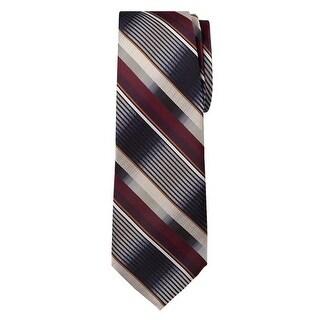 Marquis Men's Burgundy And Black Stripes 3 1/4 Tie & Hanky Set TH100-029