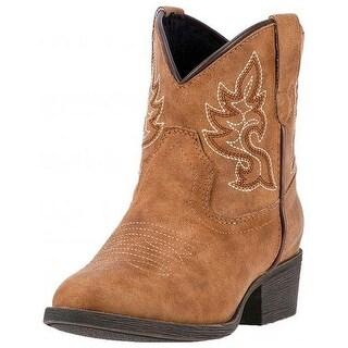 Laredo Western Boots Girls Chloe Cowgirl Stitch Round Toe Brown LC2294