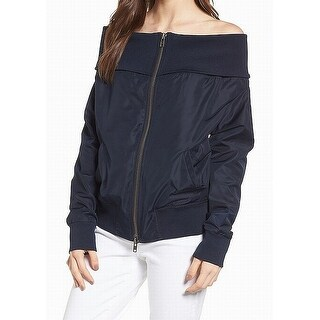 Chelsea28 Navy Womens Small Off Shoulder Bomber Jacket