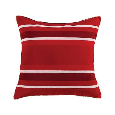 Red and White Striped Throw 24x24-inch Pillow Cover Only Ribbon Red/Snow Colors Ribbon Red/Snow