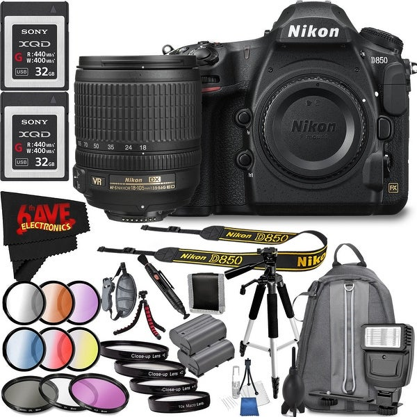 Nikon D850 DSLR Camera (Body Only) 1585 International Model + Nikon AF-S DX NIKKOR 18-105mm f/3.5-5.6G ED VR Lens Bundle