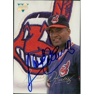 Signed Alomar Sandy Jr Cleveland Indians 1993 Leaf Baseball Card autographed
