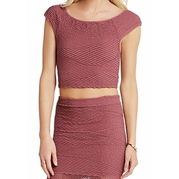 f45bcef0a1 Shop BCBG Generation NEW Pink Women s Size Large L Seamless Ribbed Crop Top  - Free Shipping On Orders Over  45 - Overstock.com - 20187998
