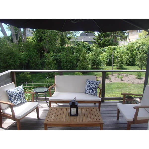 Safavieh Outdoor Living Fresno Brown Acacia Wood 4 Piece Beige Cushion Patio  Set   Free Shipping Today   Overstock   16437556