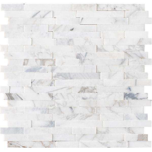 "MSI SMOT-PNS-CALIL3D-6MM Calacatta Cressa - 12"" x 12"" Linear Mosaic Sheet - Honed Marble Visual - Sold by Carton (15 SF/Carton)"