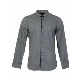 Michael Kors Men's Checkered Stripe Slim Fit Button Shirt
