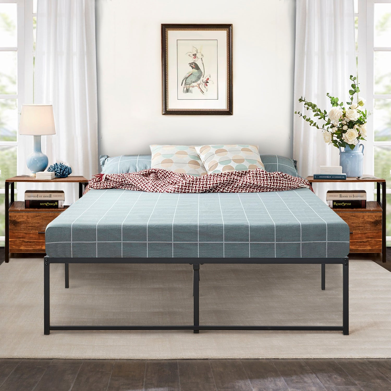 Vecelo 14 Inch Storage Deluxe Metal Twin Full Queen Size Platform Bed Twin Full Queen Size On Sale Overstock 28596743