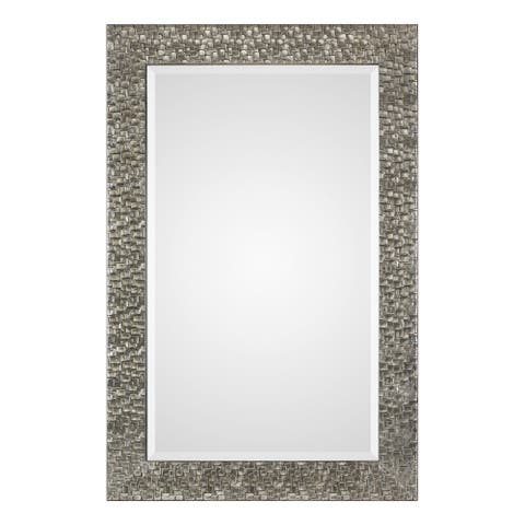 "Uttermost 09380 Kanuti 40""W Contemporary Urban Grid Framed Oversized - Metallic Silver / Gray Glaze"