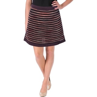 M Missoni Womens Wool Blend Panel A-Line Skirt