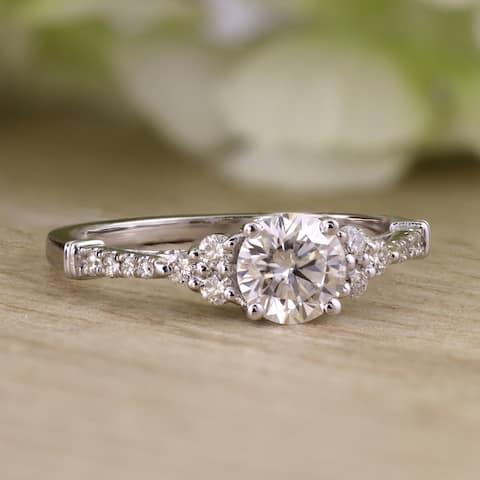 Auriya 14k Gold Vintage 3/4ct Round Moissanite and 1/5ctw Diamond Engagement Ring