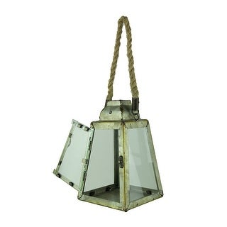 Rustic Metal Pyramid Candle Lantern with Rope Handle/Hanger - 9.5 X 6 X 6 inches