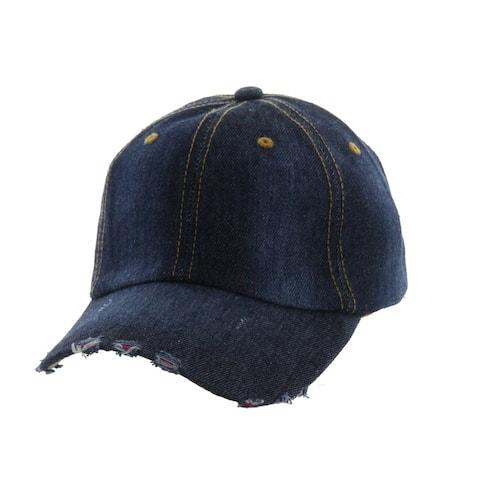 Top Headwear Distressed Dark Denim Baseball Cap
