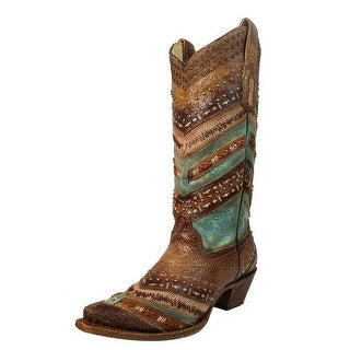 Corral Western Boots Womens Studs Distressed Turq Brown