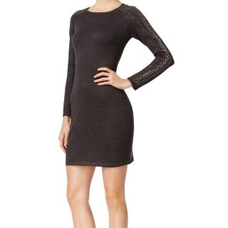 Calvin Klein NEW Gray Women's Size XL Embellished Sleeve Sweater Dress