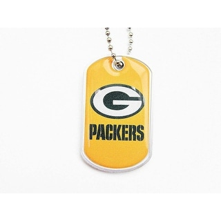 Green Bay Packers Domed Dog Tag Necklace Charm Chain