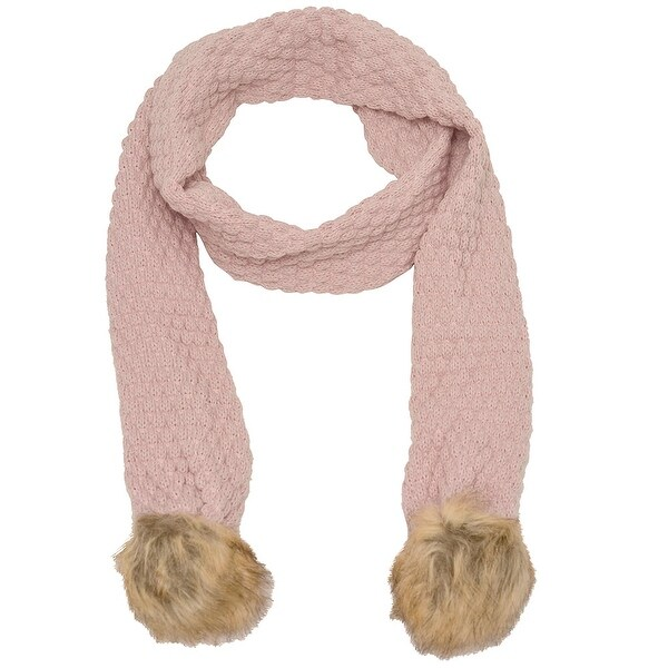 009e2296b Shop Marilyn Monroe Girls Pink Tan Textured Faux Fur Detail Winter Scarf -  Free Shipping On Orders Over $45 - Overstock - 18168891