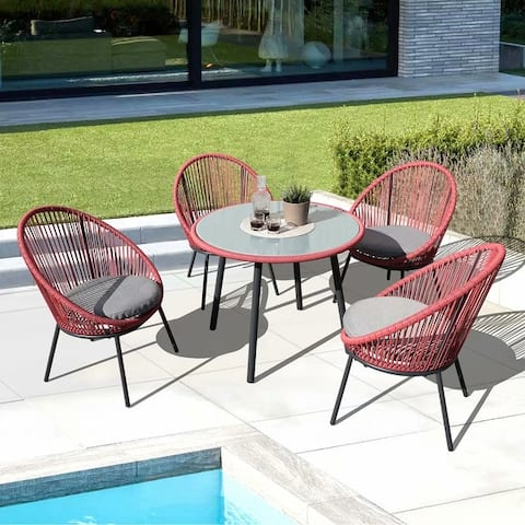 5 Piece Cushioned Dining Wicker Set