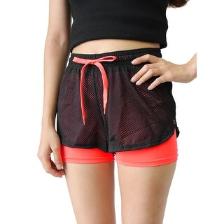 Women Black Orange Size M Mesh Gym Yoga Workout Fitness Sport Shorts Pants
