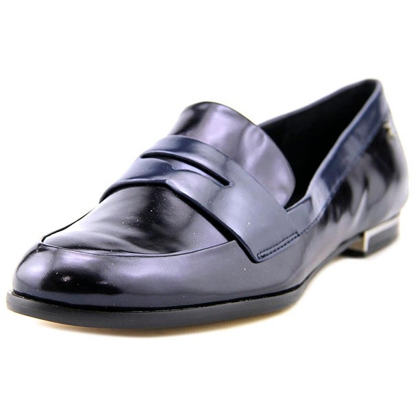 Calvin Klein Celia Women Round Toe Leather Blue Loafer