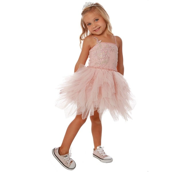 229c664f7 Shop Little Girls Pink Embroidered Sequin Tulle Emma Party Dress - Free  Shipping Today - Overstock - 21130415