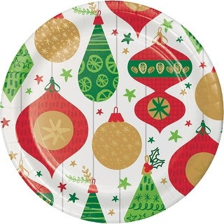 Club Pack of 96 White, Green and Red Glittering Ornaments Printed Dinner Plates 8.8""