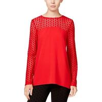 Kensie Womens Pullover Top Crepe Lace Inset