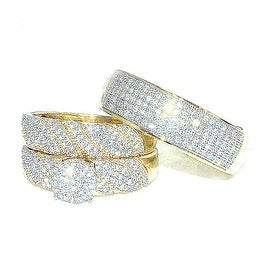 Trio Rings Wedding Set for His and Her 0.7cttw Diamonds 10K Gold( 0.7cttw) By MidwestJewellery - White