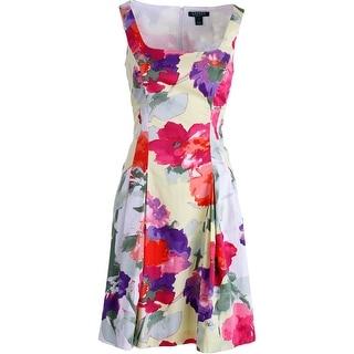 Lauren Ralph Lauren Womens Floral Print Sleeveless Casual Dress